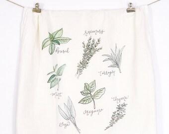 Herbs Tea Towel, Flour Sack Towel, Tea Towel, Flour Sack Kitchen Towels, Flour Sack Dish Towels, Gifts for Her, Farmhouse