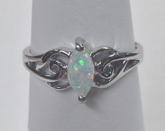 Marquise Cut Created Opal Solitaire Ring 925 Sterling Silver. October Birthstone