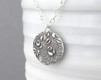 Sterling Silver Necklace Silver Charm Necklace Silver Pendant Necklace Charm Jewelry Floral Jewelry Bohemian Jewelry - Unique Petite