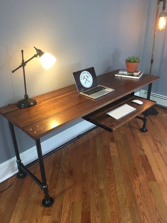 black walnut industrial pipe desk. Black Bedroom Furniture Sets. Home Design Ideas