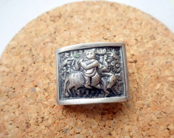 Small Panel Pin - Lady on Horse - Sterling Silver