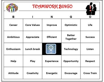 Teamwork Team building Bingo Game -  Inspire, Motivate, Fun ..Creative Activity for your office party!