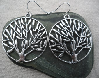 Tree Of Life Earrings - Tree Earrings - Tree Jewelry -Simple - Everyday - Earrings - Silver - Statement Earrings