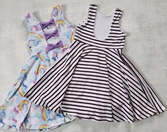 Twirl dress - bow back dress - scoop back dress - girls summer wear