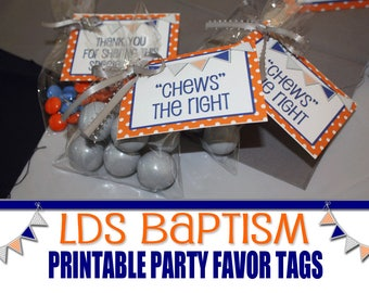 LDS Baptism Printable Party Favor Tags, Blue and Orange, Boys Baptism, Chews the Right, CTR, Choose the Right, Blue and Grey Baptism Decor