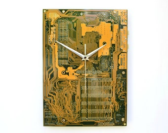 Modern Circuit Board Yellow Wall Clock Geekery Nerdy Industrial Office Home Decor