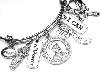 Dieters Patron Saint St. Charles Borromeo Catholic Holy Medal Charm Bangle Bracelet, Stainless Steel, Catholic Jewelry, Obesity Diet Support