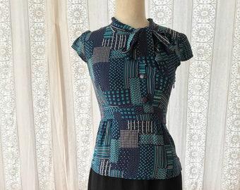 40s style silk peplum blouse // Ascot tie blouse // Secretary blouse