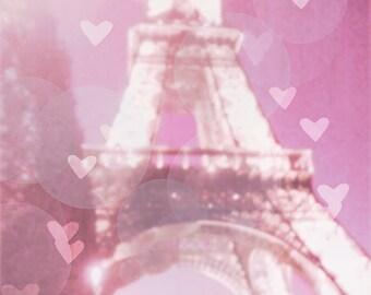 Eiffel Tower Photography, Pink Eiffel Tower Wall Art. Pink Paris Wall Decor Large, Framed Art, Paris Hearts, Girls Room, GIft Idea Girls