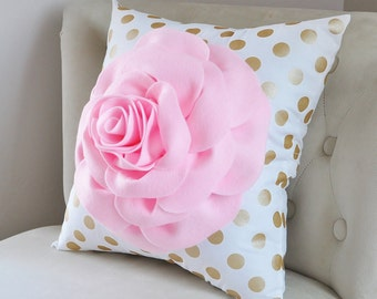 Metallic Gold Pillow Covers - Gold and White Pillow Covers - Decorative Pillows - Pink Rose Pillows - Metallic Gold Pillows - Girl Nursery