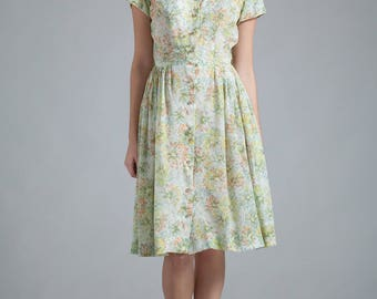 vintage 50s shirtdress cotton pleated day dress white green floral abstract print SMALL S