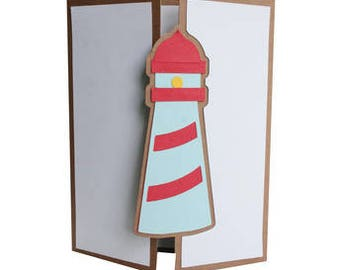Lighthouse Tri-Fold , Blank Inside , Any Occassion , Sea , Ocean , Safe , Bright , Boats , PaperCut