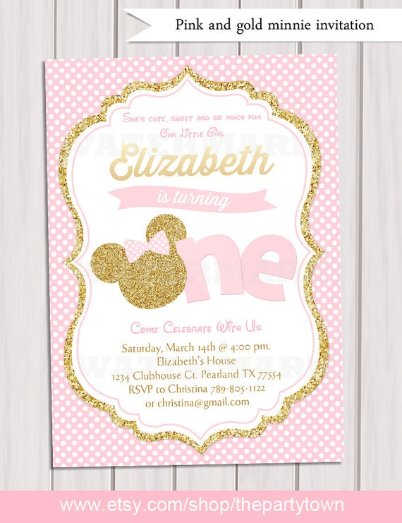 Beautiful Pink and Gold Minnie Mouse First Birthday Party Invitation IC32