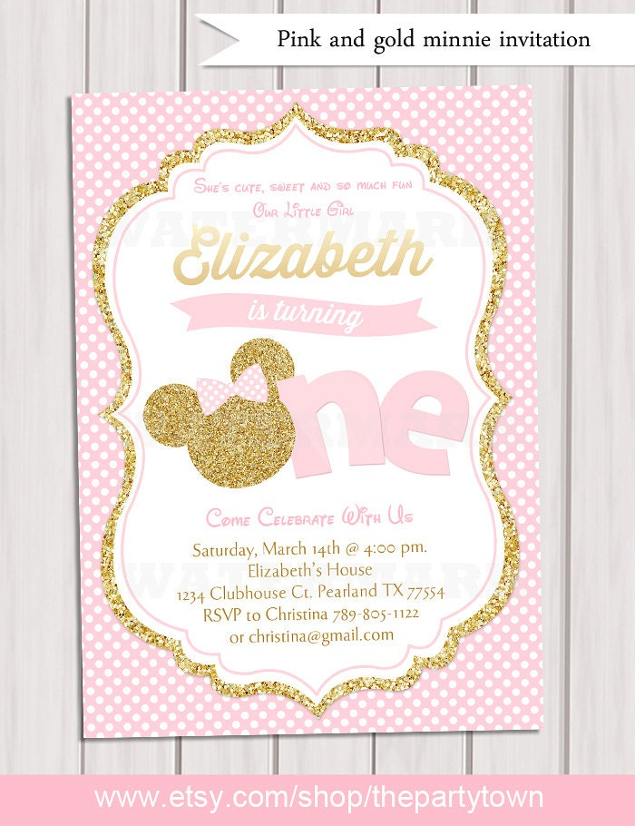 Pink and gold minnie mouse first birthday party invitation request a custom order and have something made just for you filmwisefo Image collections