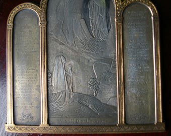 Engraving of the Virgin Mary engraved and signed pn triptych year antique of Lourdes rare