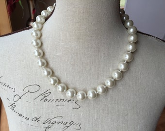 14mm Ivory pearls in this beautiful strand necklace- wedding jewelry