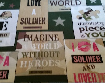 Love A Soldier Cotton Fabric by the Yard