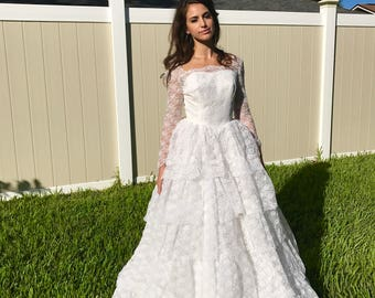 Vintage 1950s tiered white lace & rhinestone Cinderella-style wedding gown, size 4