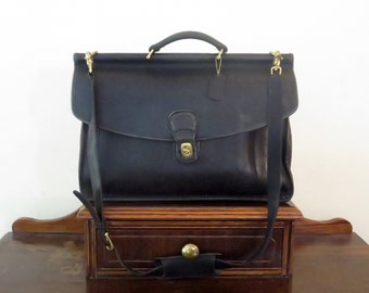 Dads Grads Sale Coach Beekman Briefcase In Black Leather With Brass Hardware- Style No. 5266 - Made In United States- VGC