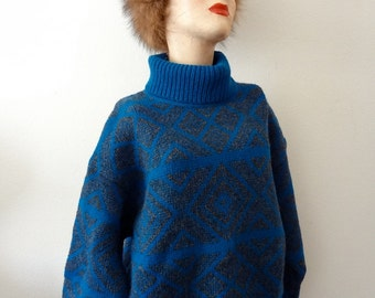 1980s Wool Sweater / oversized funnel neck knit top by benetton / retro vintage