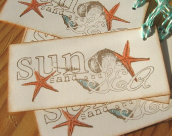 Sun and Sea Beach Seashell Gift Tags, Starfish Tags