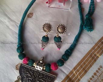 Oxidized jewelry indian-Deep green and pink thread jewelry-Indian jewelry-thread jewelry-statement necklace-thread necklace-dori necklace