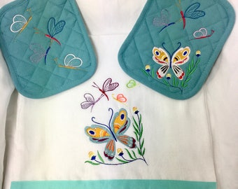 """Dragnon Fly And Butterfly  Kitchen Towel & 2 Potholders """"Set of 3"""""""
