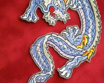 Extra Large Embroidered Dragon Iron On Applique Patch, Biker Patch, Chinese Dragon, Blue Dragon, Gothic, Fire Breathing Dragon, Reptile