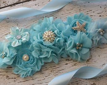 Baby blue ocean  Sash , flower Belt, maternity sash, wedding sash, flower girl sash, maternity sash belt
