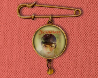 Motion Picture Classic Film Fan Magazine Louise Brooks Cover Pin, Magnet, Keychain, or Necklace