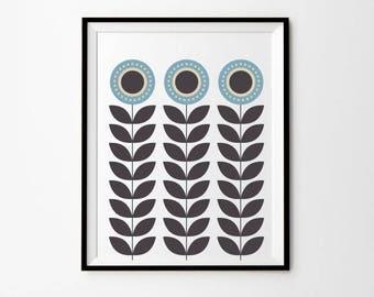 Sunflower Art Print, 5 x 7 in, 8 x 10 in,  11 x 14 in, Blue Wall Decor, Grey Wall Decor, Blue Wall Prints, Modern Scandinavian