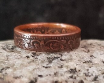 Flora Copper Coin Ring