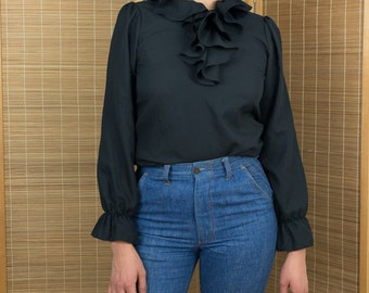 1970's Victorian Ruffle Front Blouse with Bell Sleeves