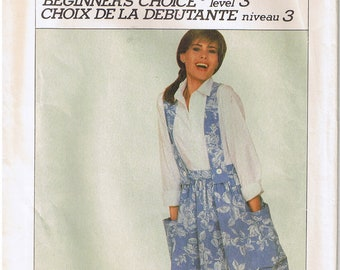 Misses Beginner Learn to Sew Full Gathered Suspender Skirt Pockets Criss Cross Back Vintage 80s Simplicity 7613 Sewing Pattern Misses Size 6