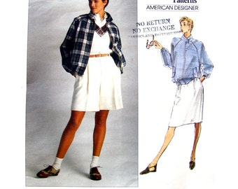 Raglan Jacket Shorts Skirt Pattern Vogue 2456 Bomber Jacket Walking Shorts Ralph Lauren Designer Womens Sewing Pattern Size 8 10 12 UNCUT