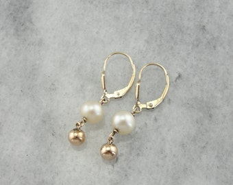 Vintage Pearl Drop Earrings with Beaded Accents 5Y4KKM-D