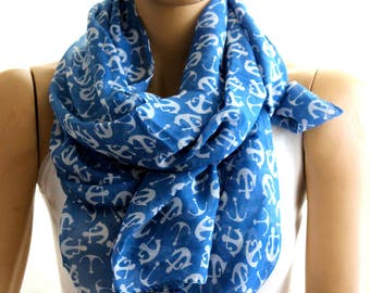 Anchor blue scarf, Fashion scarf, Infinity scarf, trendy items, women accessories, boho scarves, spring scarf, elegant gift, trendy scarf