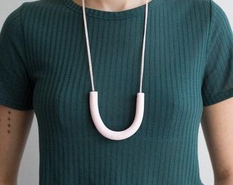Colorful U Shape Polymer Clay Necklace   Monochrome Statement Necklace