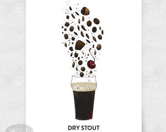 Craft Beer Art Print, Bar Art, 12x16, Brewery Art llustration, with Glass