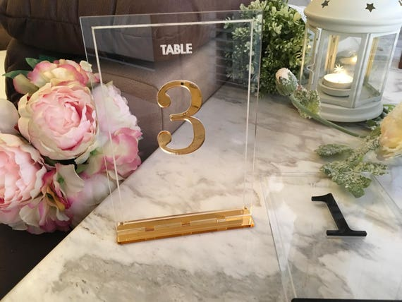 Unique table number holders Laser cut table numbers Clear acrylic wedding party sign Gold decorations Table markers centerpieces Luxury sign