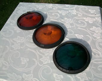 Traffic Light Lenses, Industrial Decor, Mancave Decor, French Vintage Decor