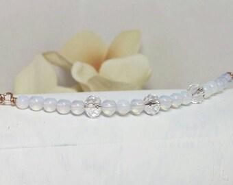 Gemstone necklace, Bar necklace, rose gold layering necklace, Minimalist necklace, Delicate gemstone necklace, Rose gold necklace, Gemstone