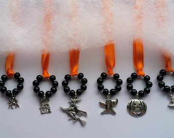 6 Halloween, Ornaments, Hallows Eve, Haunted House, Tree, Thank You, Gift, Decorations, Orange, Black, Witch, Pumpkin, Ghost, Candy, Spider