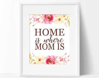 Home is Where Mom Is - Printable Art for Mom - Gift for Mother - Mothers Day Gift - Mothers Day Print - Gift for Grandma - Download 8x10