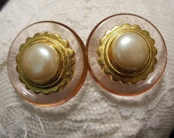 Vintage Pink Translucent Lucite Faux Pearl Center Gold scalloped Frame Post Earrings