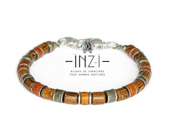 Bracelet in exotic wood, pyrite and hematite 6mm INZ - I - model NAËL