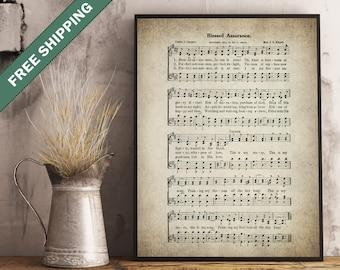 Blessed Assurance Hymn Print - Sheet Music Art - Hymn Art - Hymnal Sheet - Home Decor - Music Sheet - Print - #HYMN-P-006