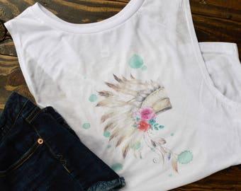 gifts for her/headdress shirt/headdress tee/head dress shirt/floral headdress/floral  head dress/watercolor headdress/tribal headdress/