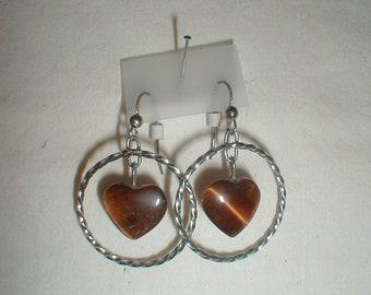 Tiger Eye Earrings, Circle earrings, heart earrings, sterling silver earrings