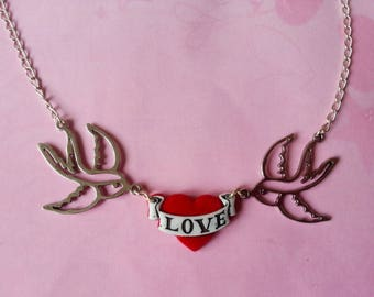 Necklace ♥ swallows and red heart Love tattoo ♥